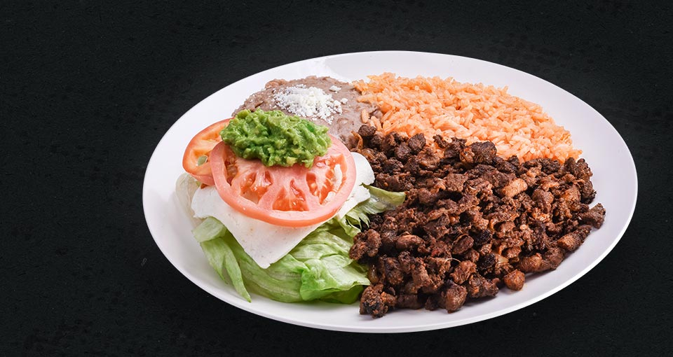 El Plato - Mixed food plate with rice, salad, beans and meat